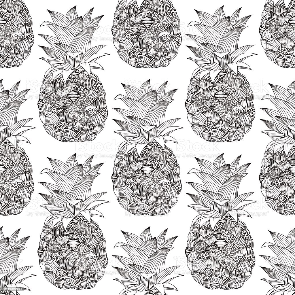 Seamless pattern with artistic pineapples vector art illustration