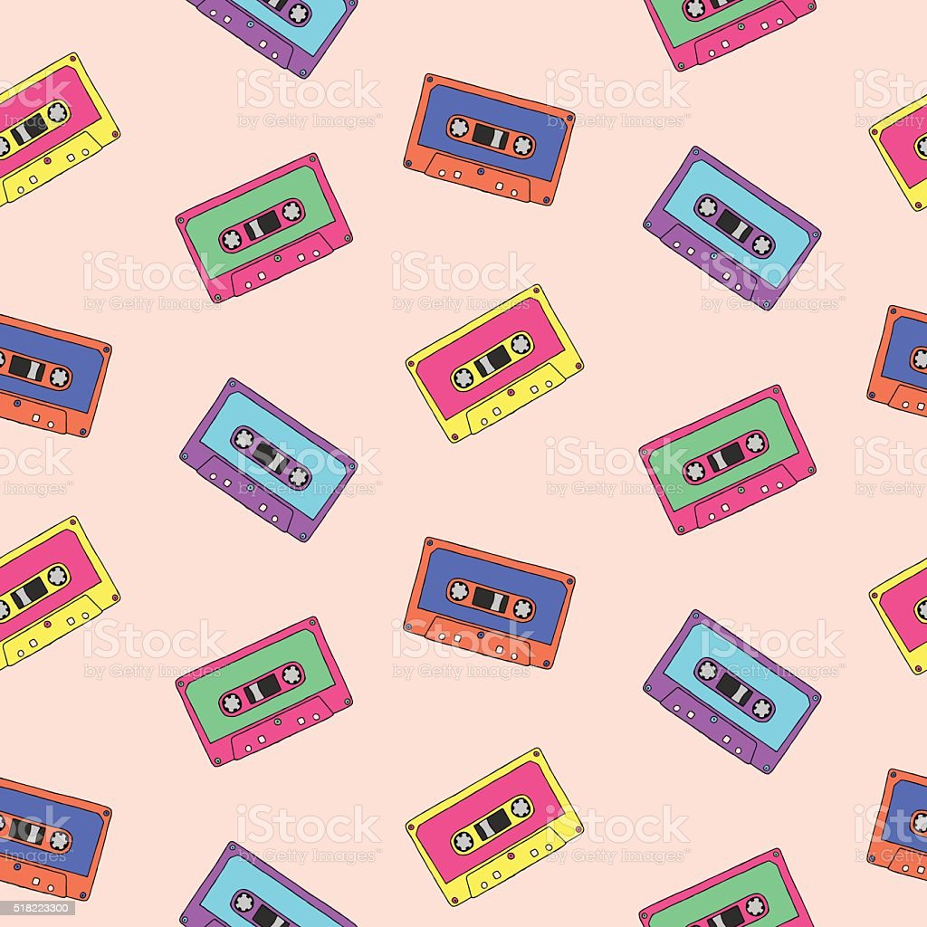 Seamless pattern with audio tapes vector art illustration