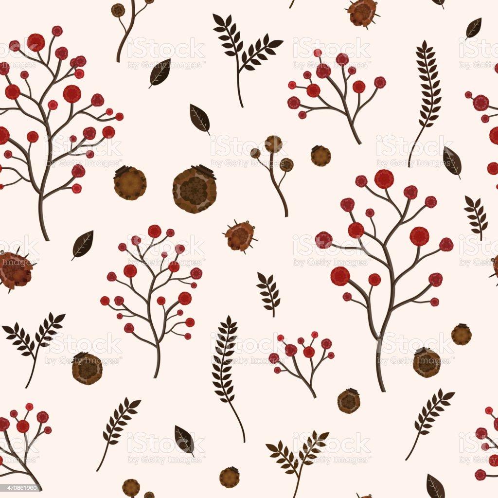 seamless pattern with autumn elements vector art illustration