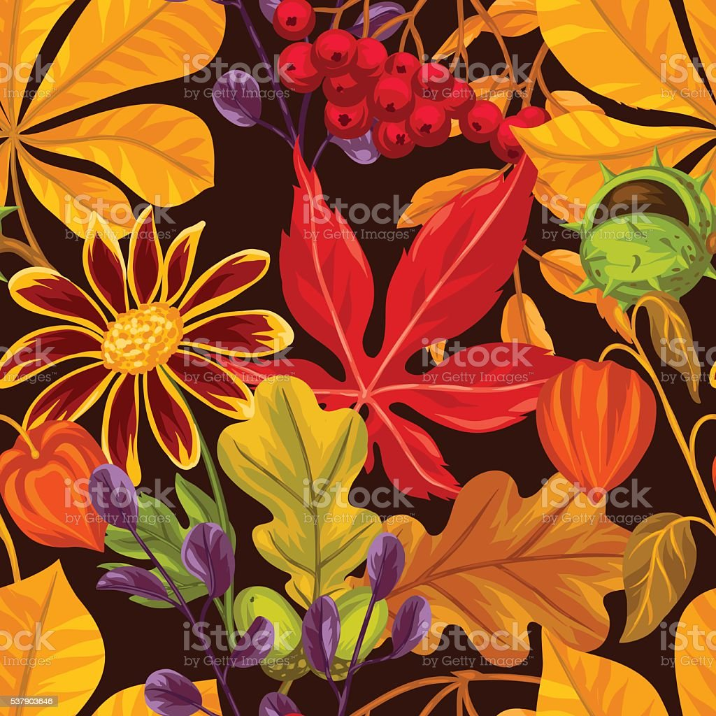 Seamless pattern with autumn leaves and plants. Background easy to vector art illustration