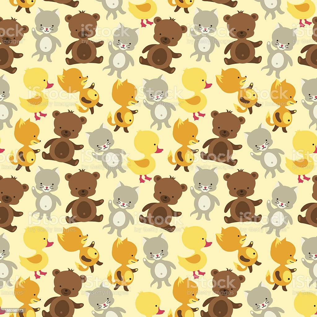 Seamless pattern with baby cat, bear, fox and duck. vector art illustration