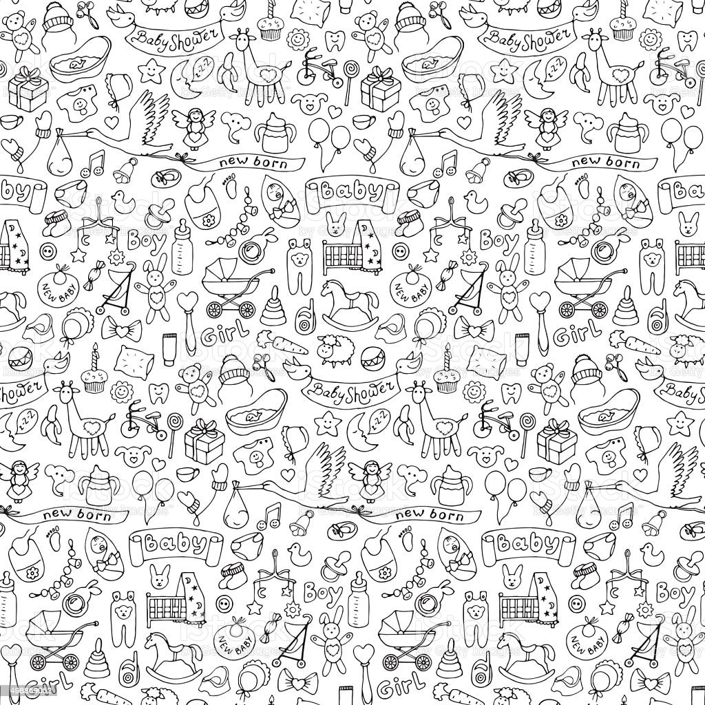 Seamless pattern with baby hand drawn doodle elements vector art illustration