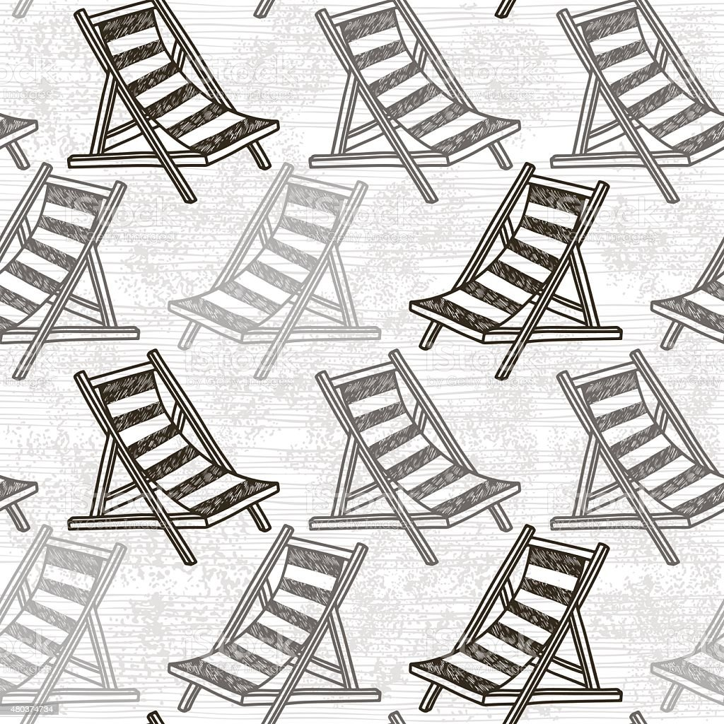 Seamless pattern with beach chaise. Monochrome background. vector art illustration