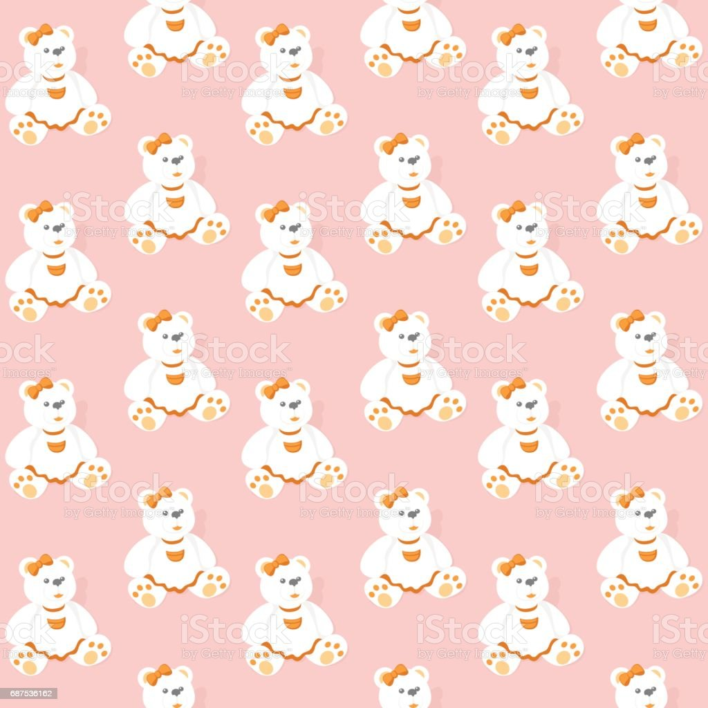 Seamless Pattern with Bears on a Pink Background. vector art illustration