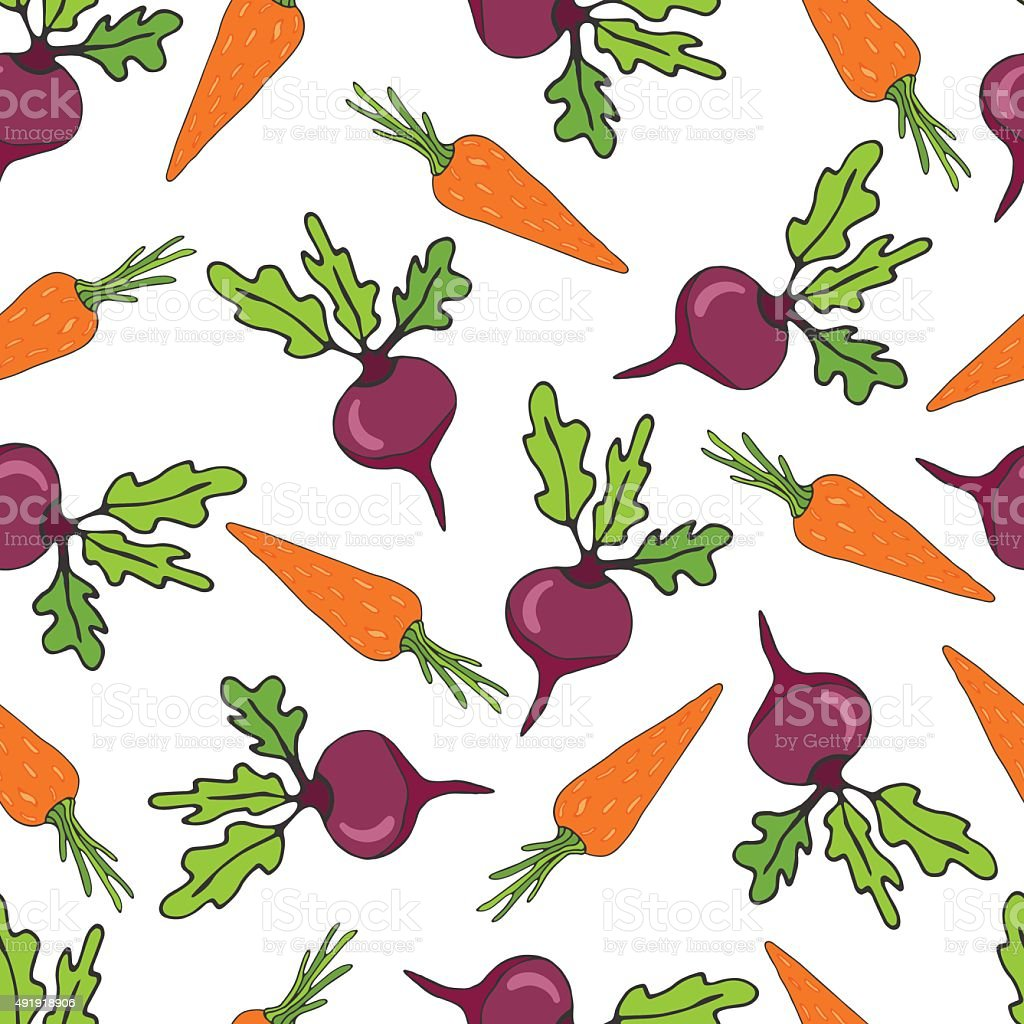 Seamless pattern with beetroots and carrots vegetables. Hand drawn vector art illustration