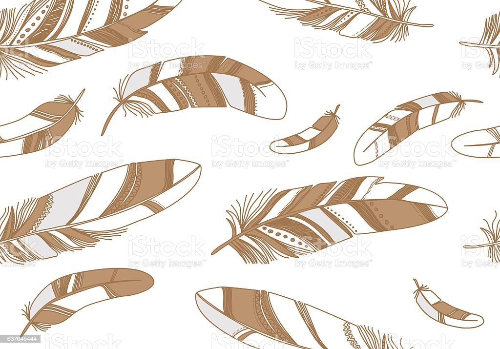 Seamless pattern with beige feathers on a white background. vector art illustration