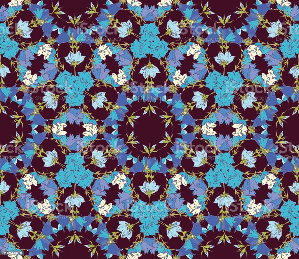 Seamless pattern with bellflowers. Floral ornament vector art illustration