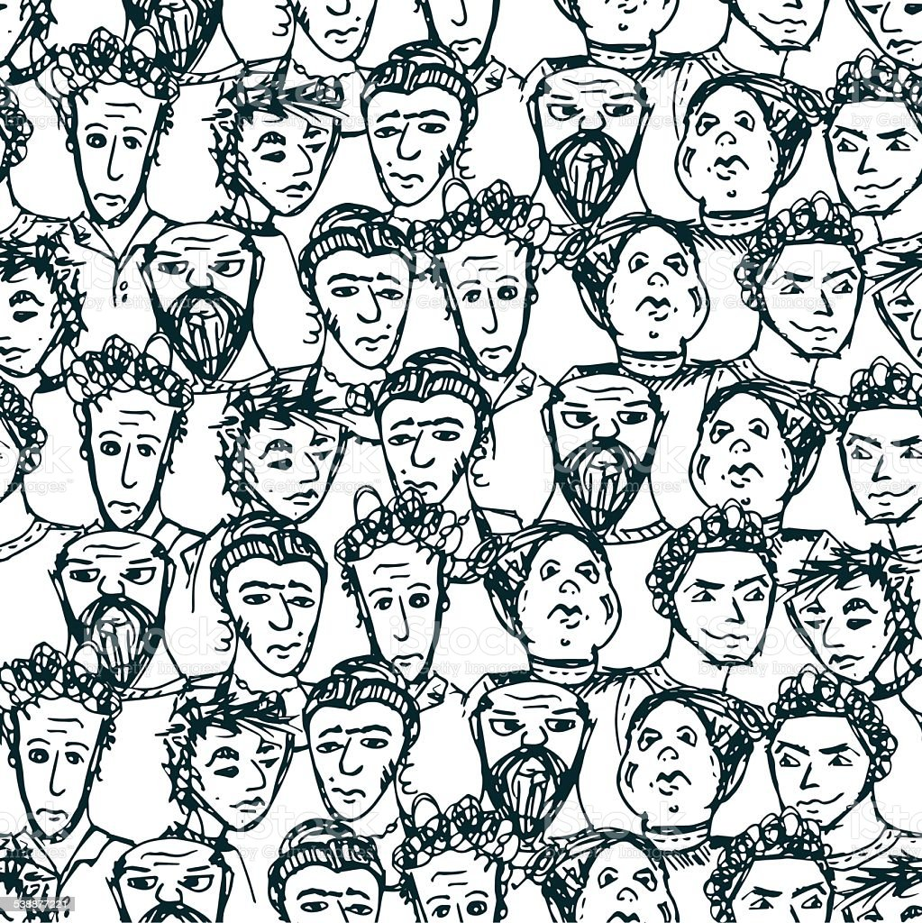 Seamless pattern with big group of people. Vector illustrated vector art illustration