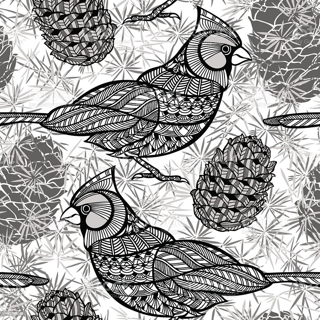 Seamless pattern with birds and cones. vector art illustration