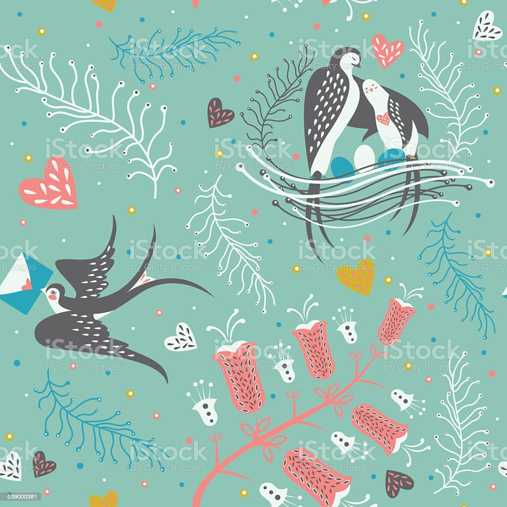 Seamless pattern with birds and floral elements. vector art illustration