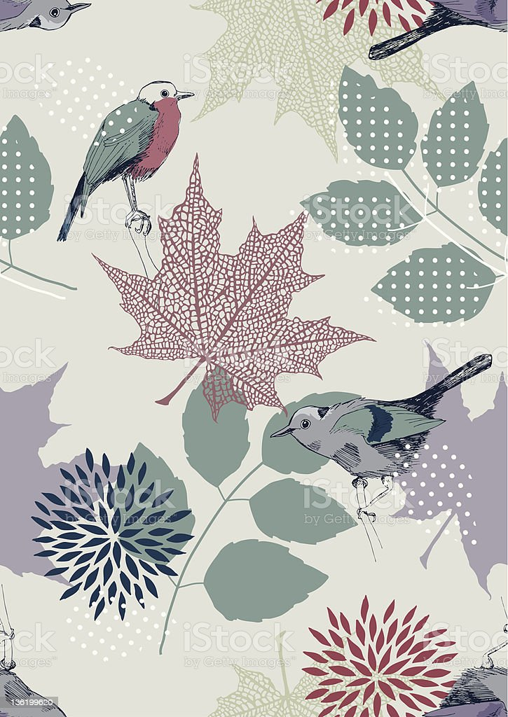 Seamless Pattern with Birds and Leaves royalty-free stock vector art