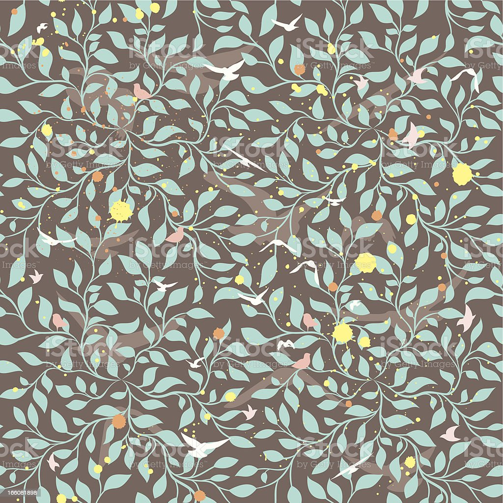 Seamless pattern with birds in leaves. vector art illustration