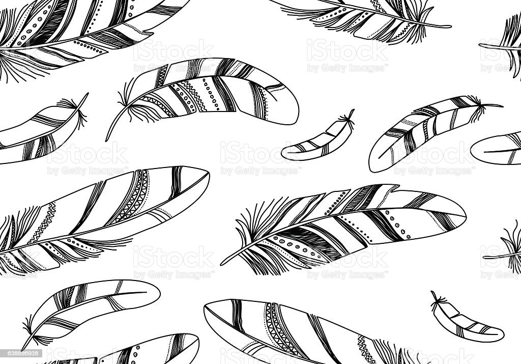 Seamless pattern with black feathers on a white background. vector art illustration