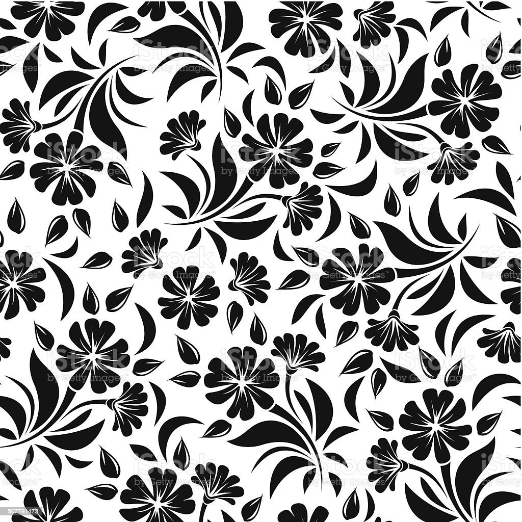 Seamless Pattern With Black Flowers On A White Background ...