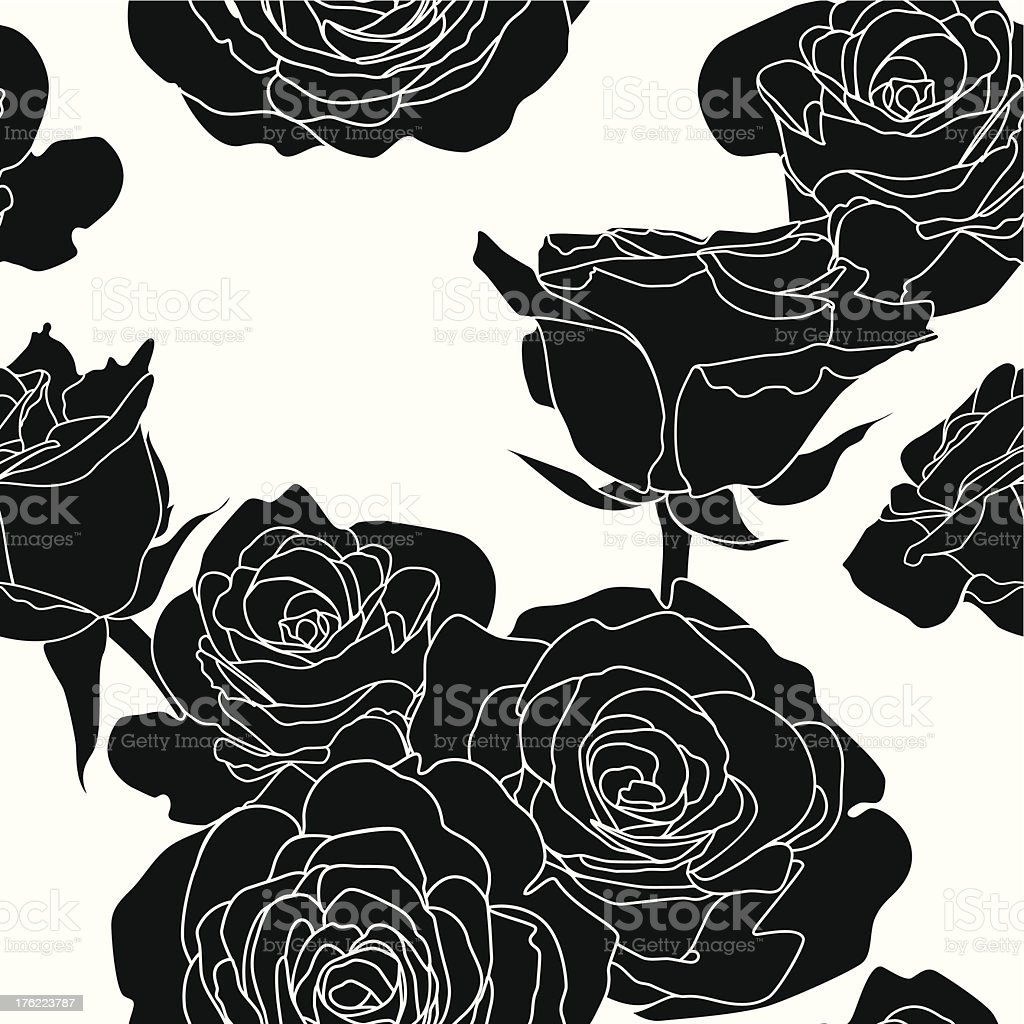 Seamless pattern with black roses flowers on white background royalty-free stock vector art
