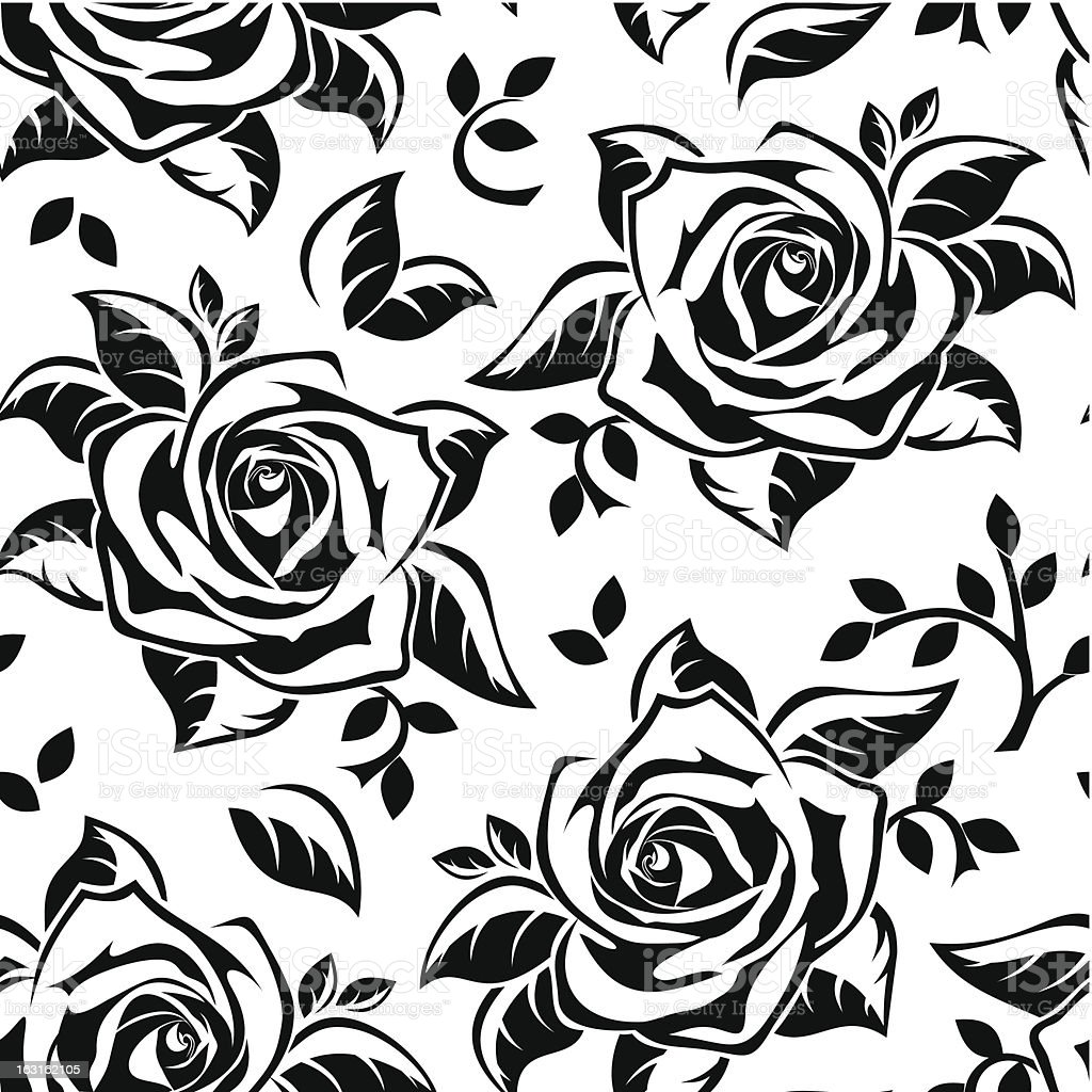 Seamless pattern with black silhouettes of roses. Vector illustration. royalty-free stock vector art