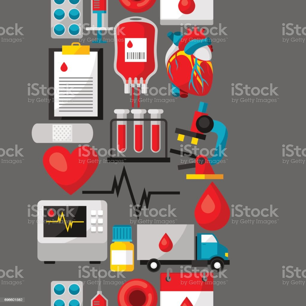 Seamless pattern with blood donation items. Medical and health care objects vector art illustration