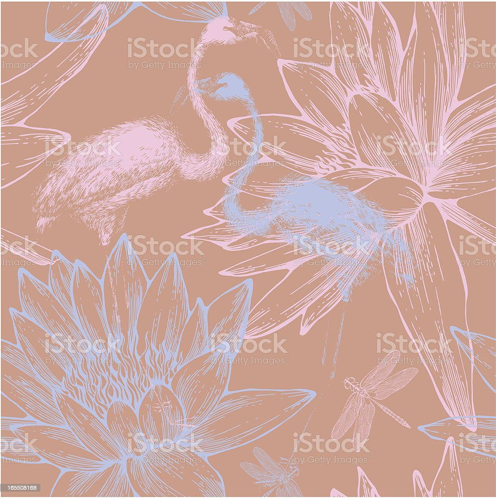 Seamless pattern with blue and pink flamingos, dragonflies,water lilies. royalty-free stock vector art