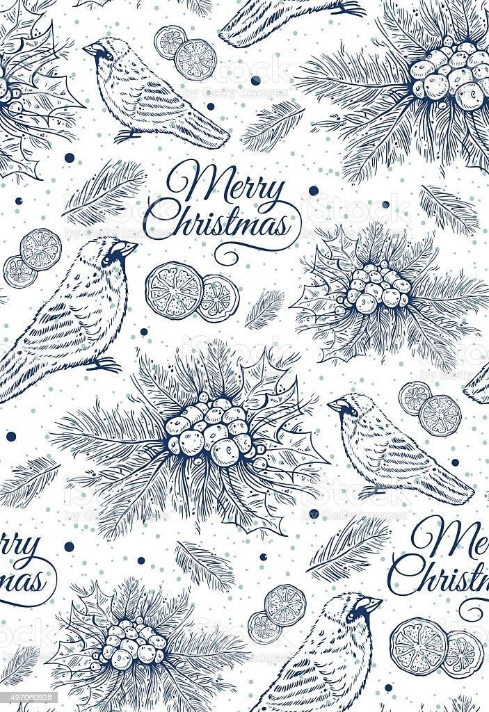seamless pattern with blue Christmas tree, ilex, citrus, bird vector art illustration
