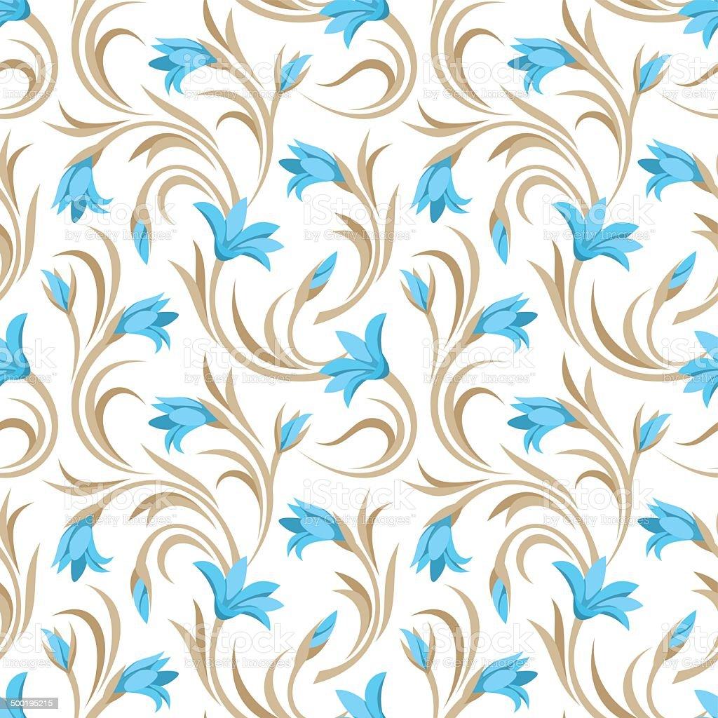 Seamless pattern with blue gladiolus flowers. Vector illustration. vector art illustration