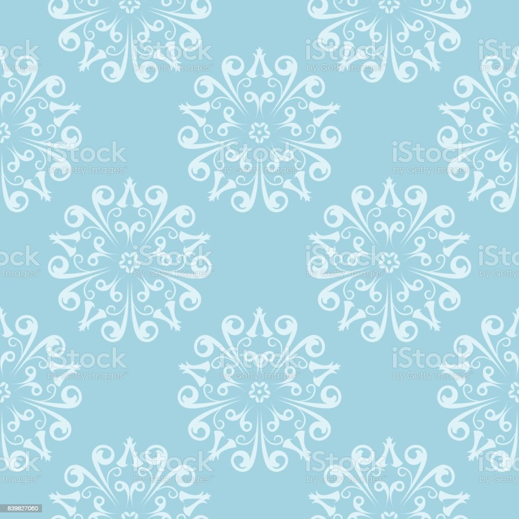Seamless pattern with blue wallpaper ornaments vector art illustration