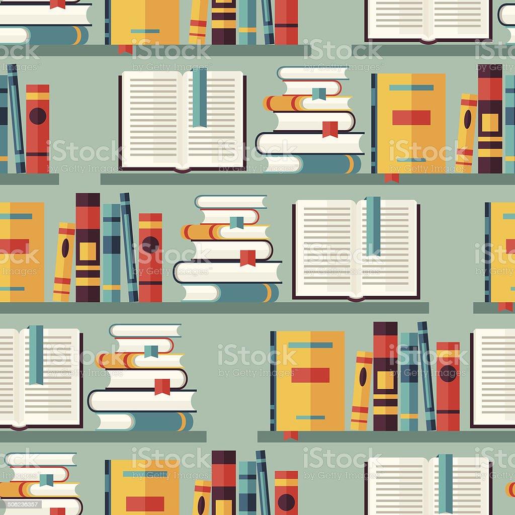 Seamless pattern with books on bookshelves in flat design style. vector art illustration