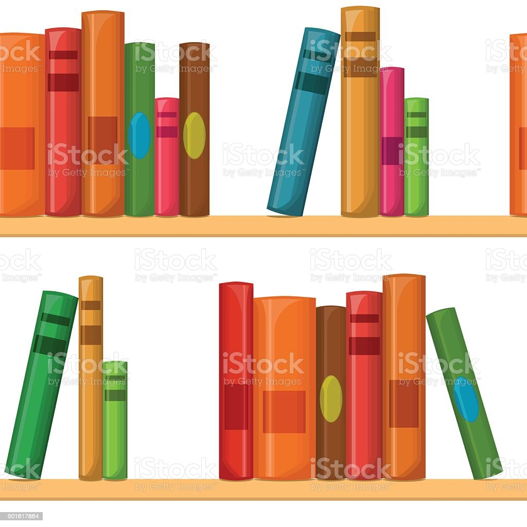 Seamless pattern with books vector art illustration