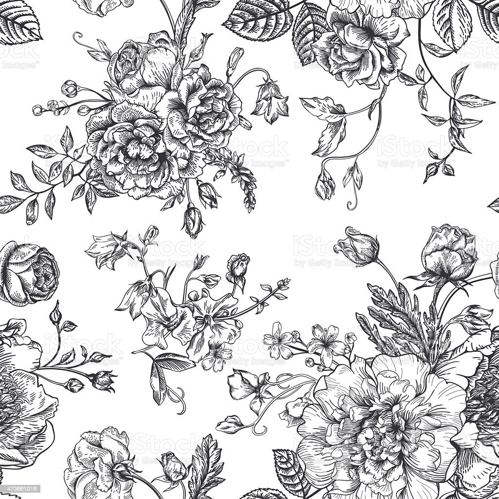 Flower Bouquet Line Drawing : Seamless pattern with bouquet of flowers stock vector art