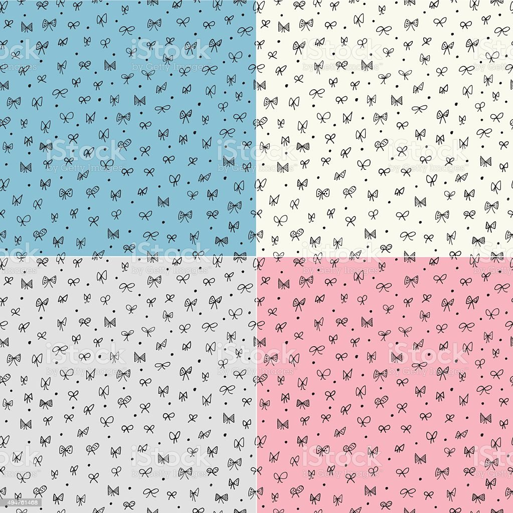 Seamless pattern with bows vector art illustration