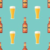 Seamless pattern with brown bottle and glass with beer
