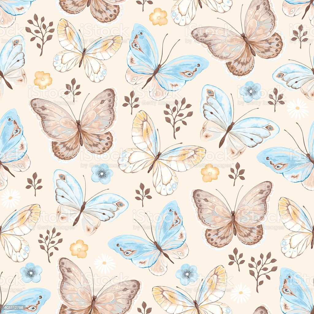Seamless pattern with butterflies and flowers on beige background. vector art illustration