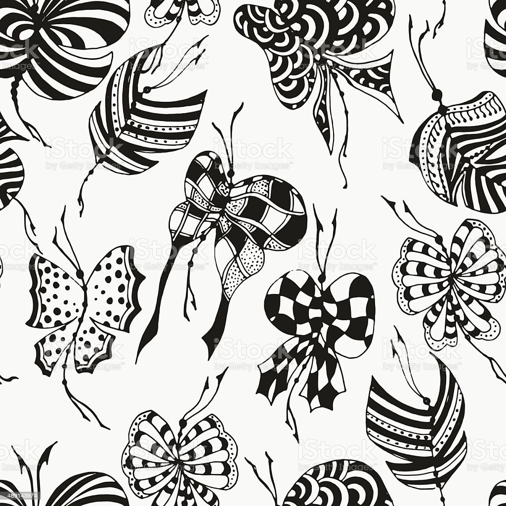 Seamless pattern with butterflies vector art illustration