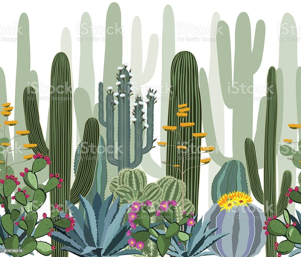 Seamless pattern with cactus, agave, and opuntia. vector art illustration
