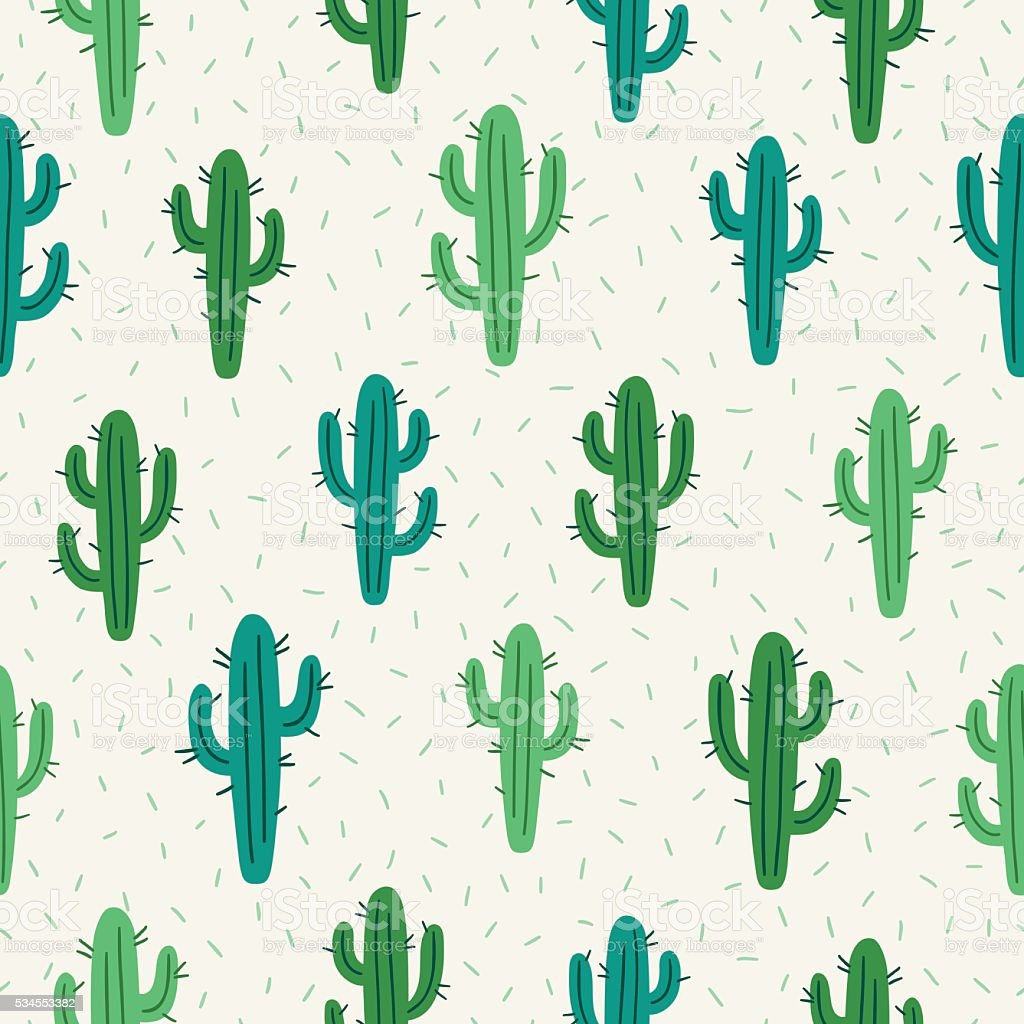 Seamless pattern with cactus on white background vector art illustration
