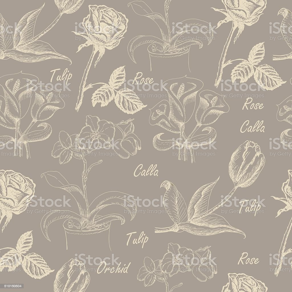 Seamless pattern with calla lily, tulip, orchid, and rose vector art illustration
