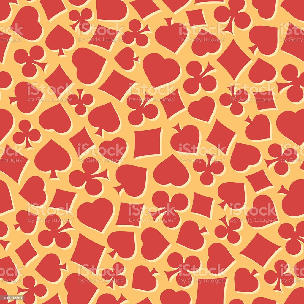 Seamless pattern with card suits. Endless background of hearts, vector art illustration
