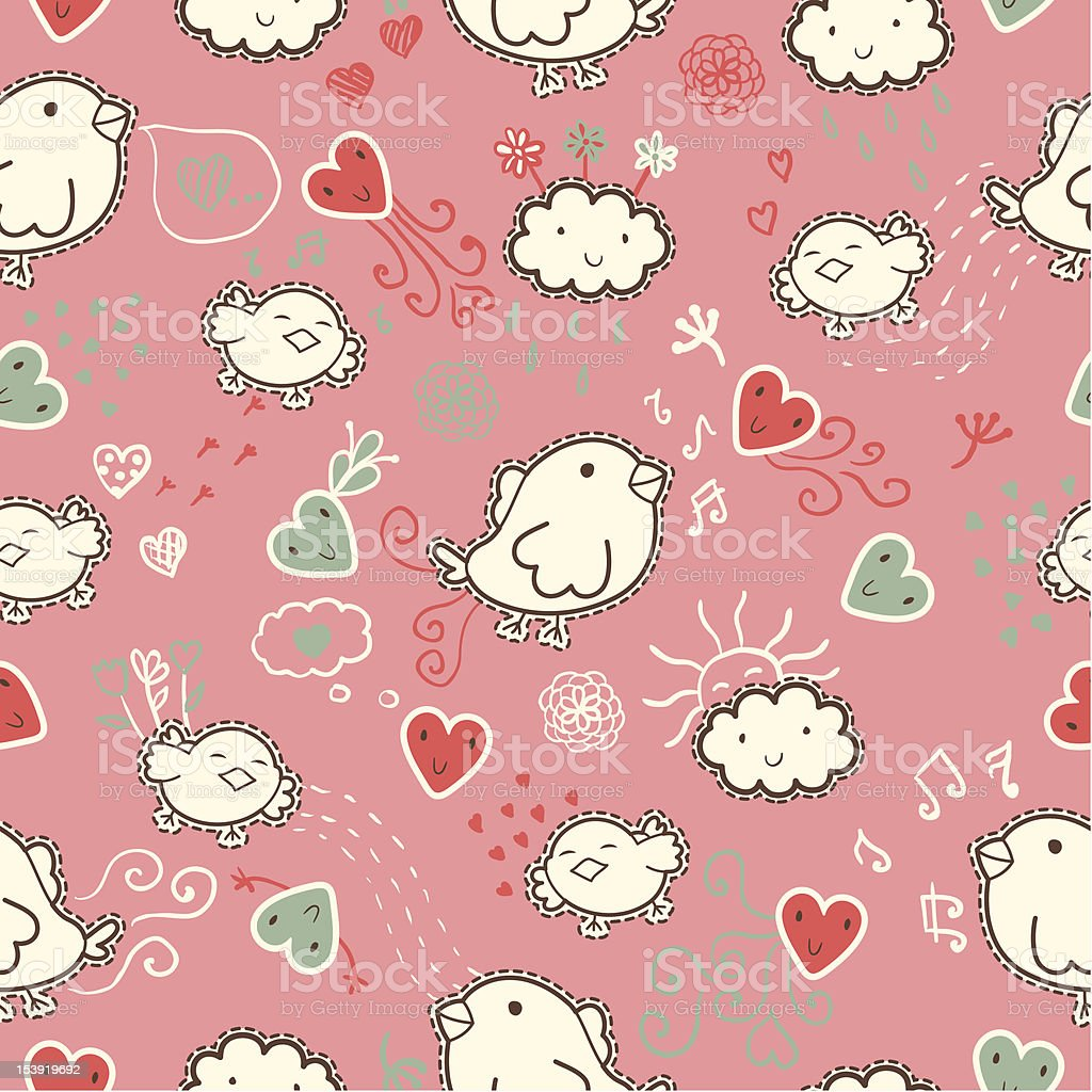 seamless pattern with cartoon birds, hearts and clouds royalty-free stock vector art