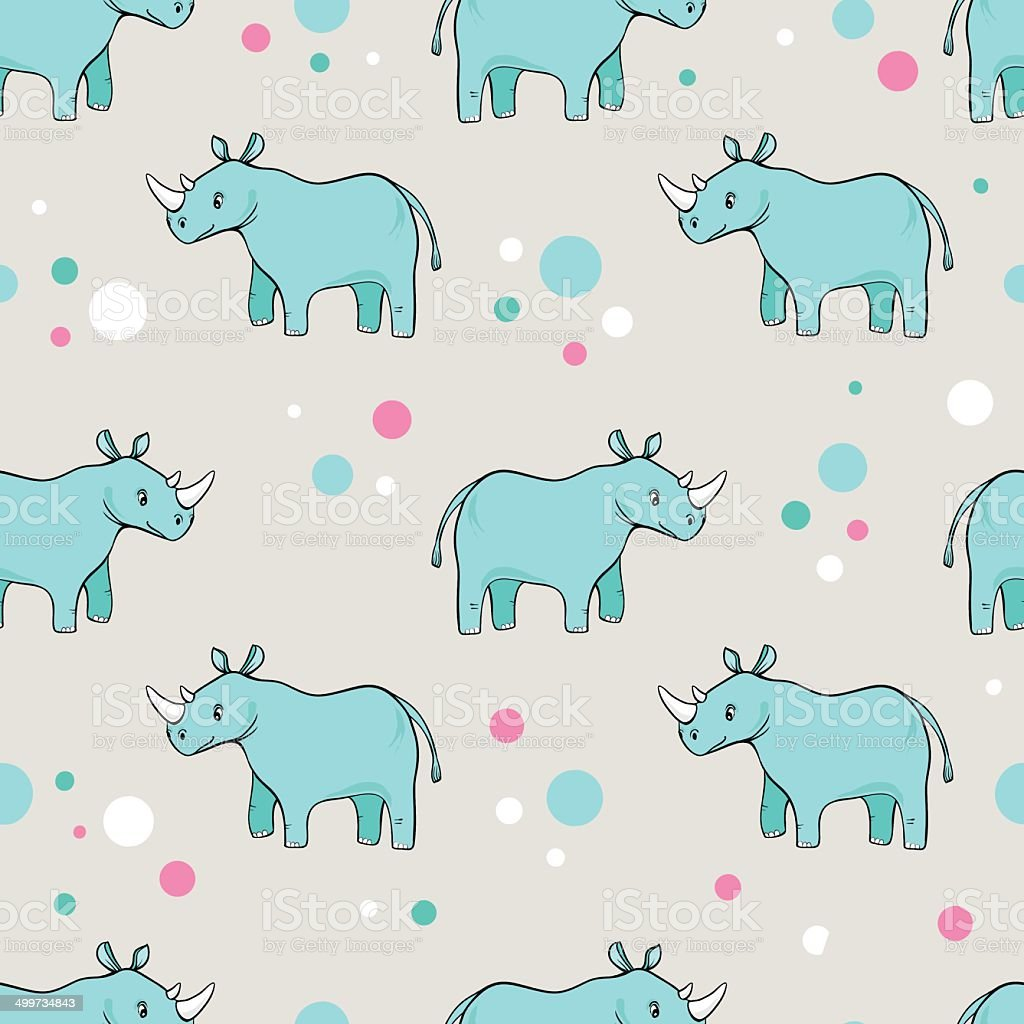 seamless pattern with cartoon blue-green rhinoceros royalty-free stock vector art