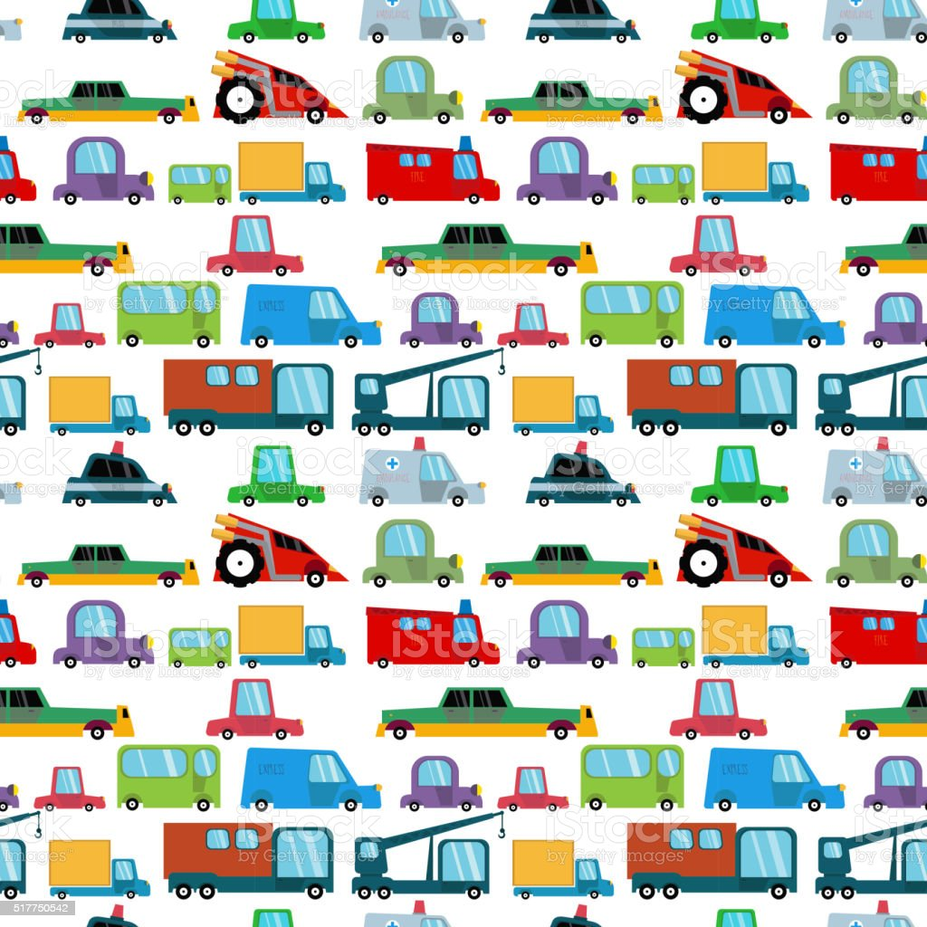 Seamless pattern with cartoon cars. vector art illustration