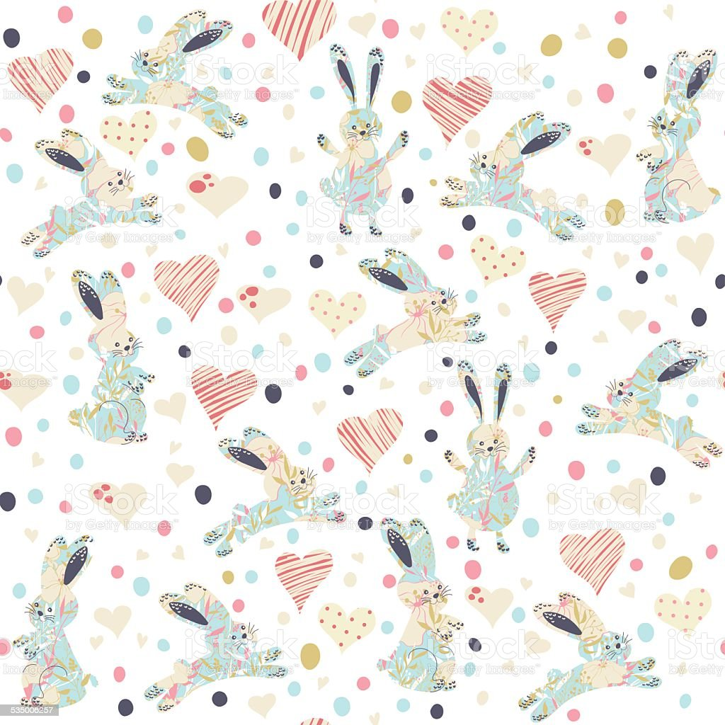 Seamless pattern with cartoon funny rabits vector art illustration