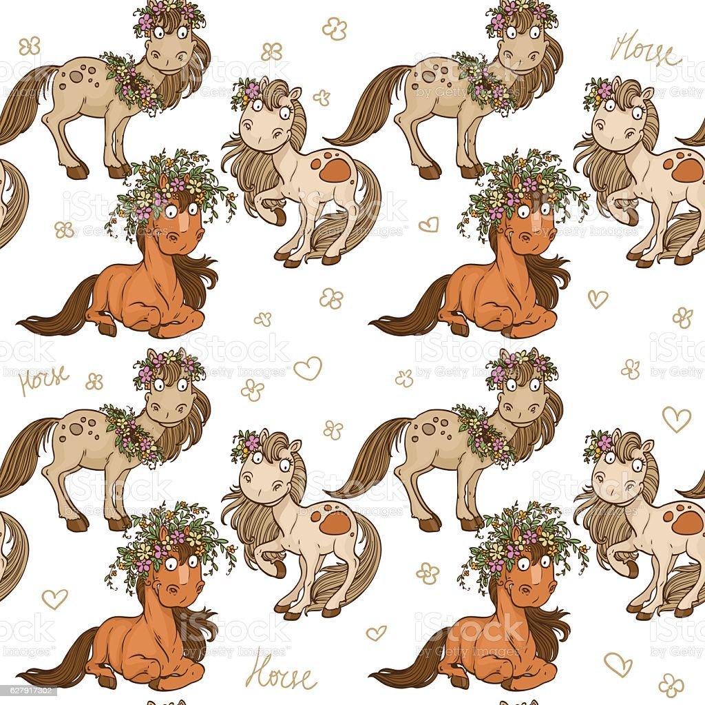 Seamless pattern with cartoon horses vector art illustration