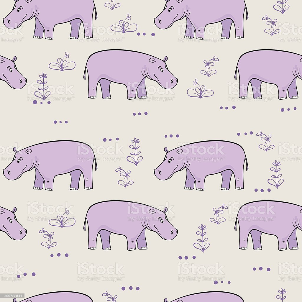 seamless pattern with cartoon lavender hippopotamus royalty-free stock vector art