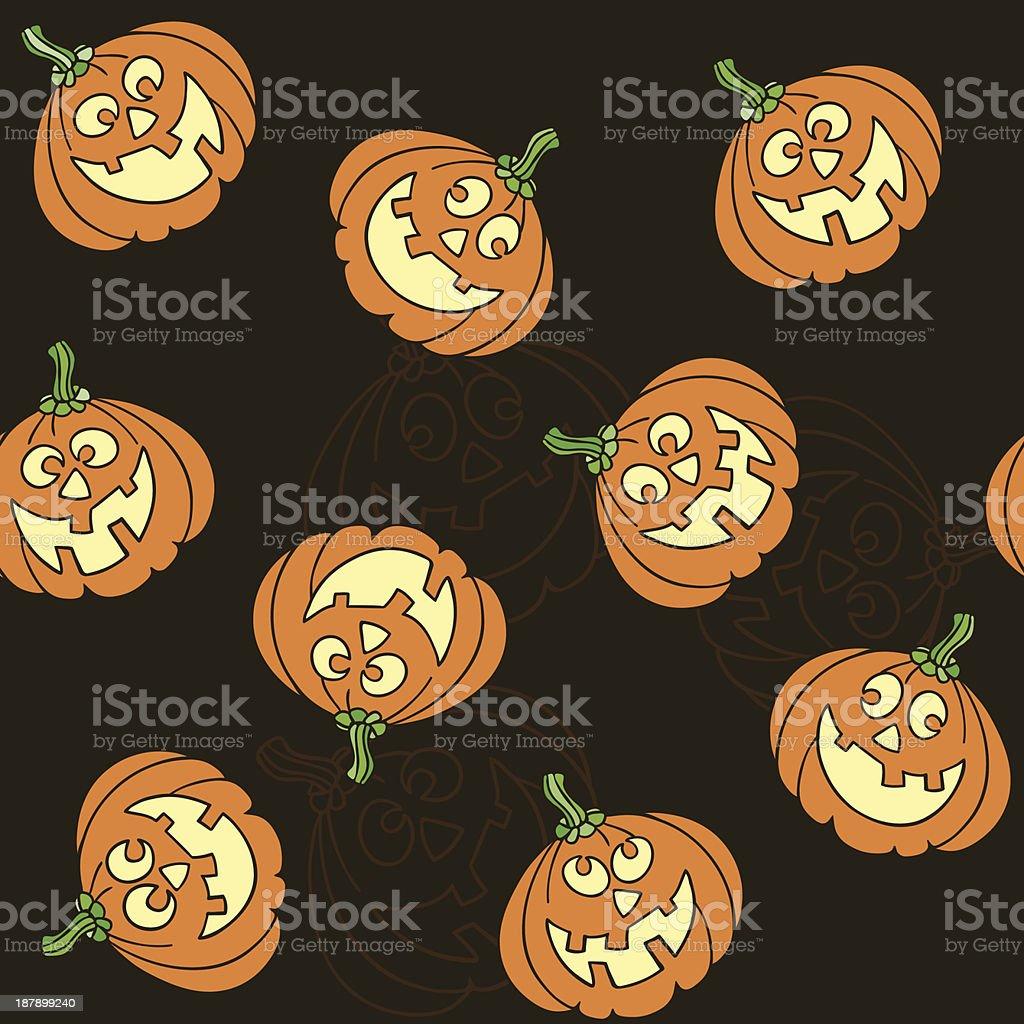 Seamless pattern with  cartoon pumpkins for Halloween royalty-free stock vector art