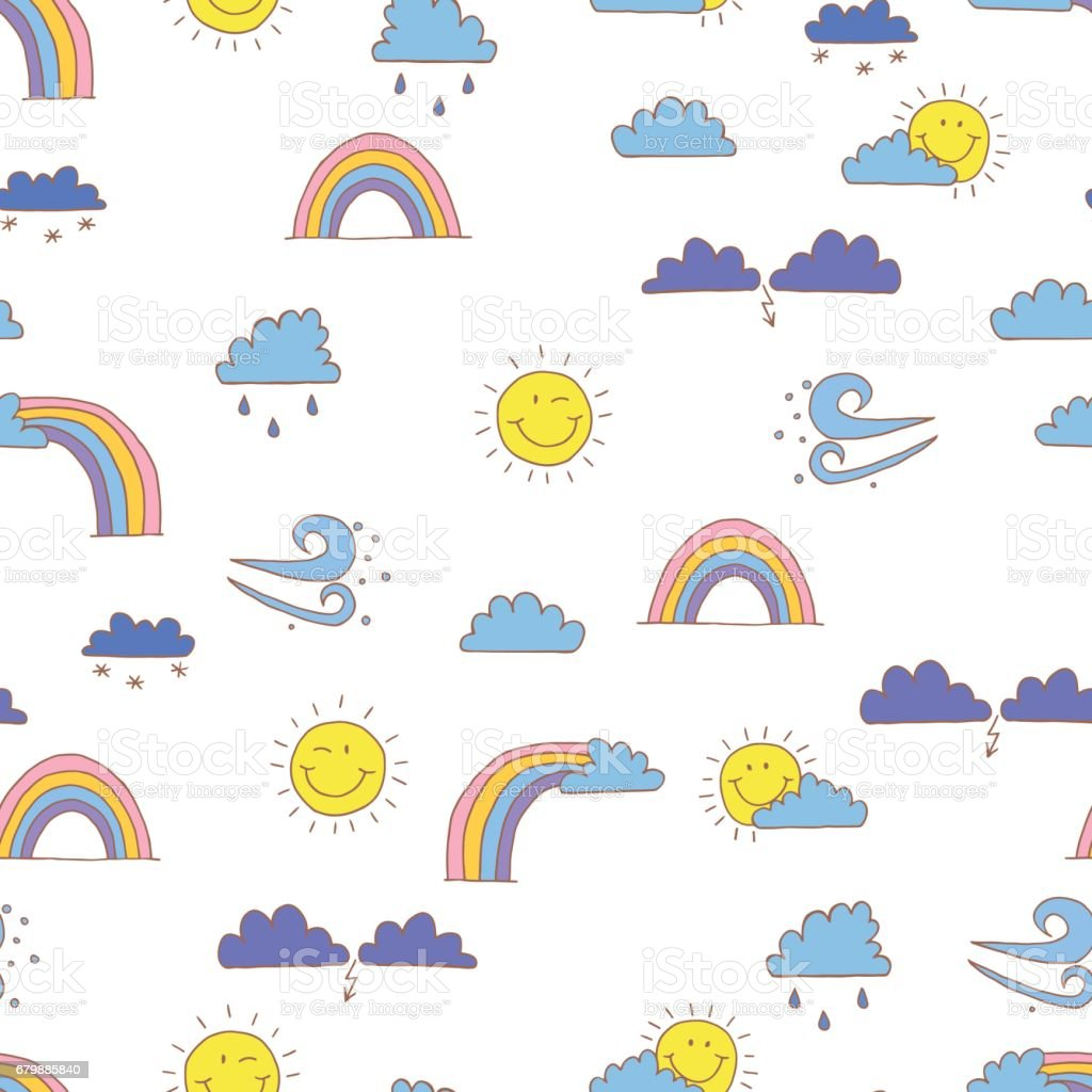 Seamless Pattern With Cartoon Weather Symbols Vector