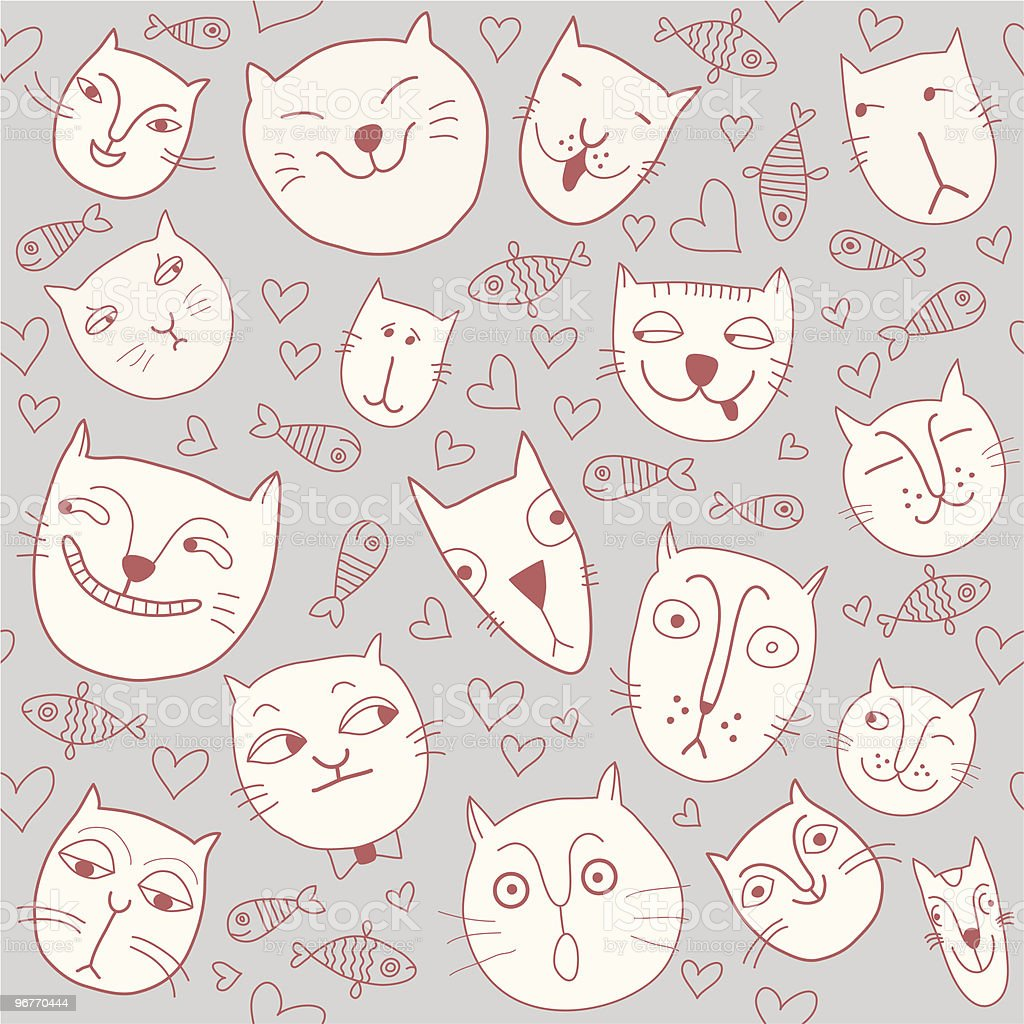 seamless pattern with cat's head royalty-free stock vector art