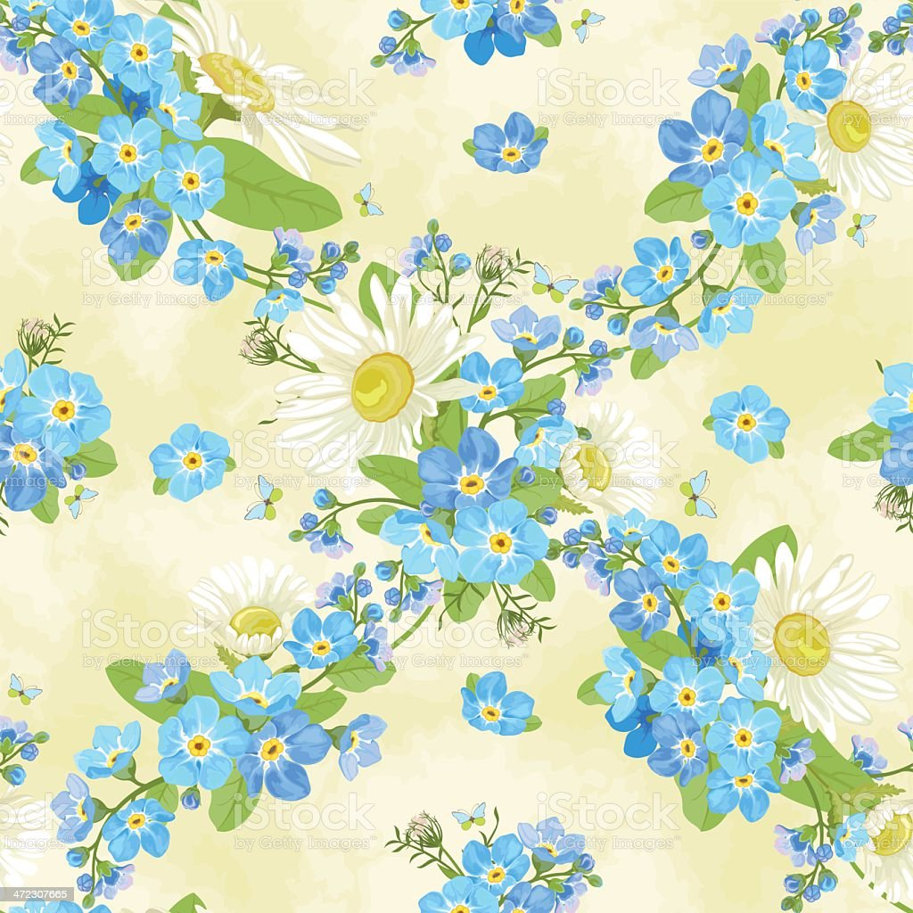 Seamless pattern with chamomiles and forget-me-nots. royalty-free stock vector art