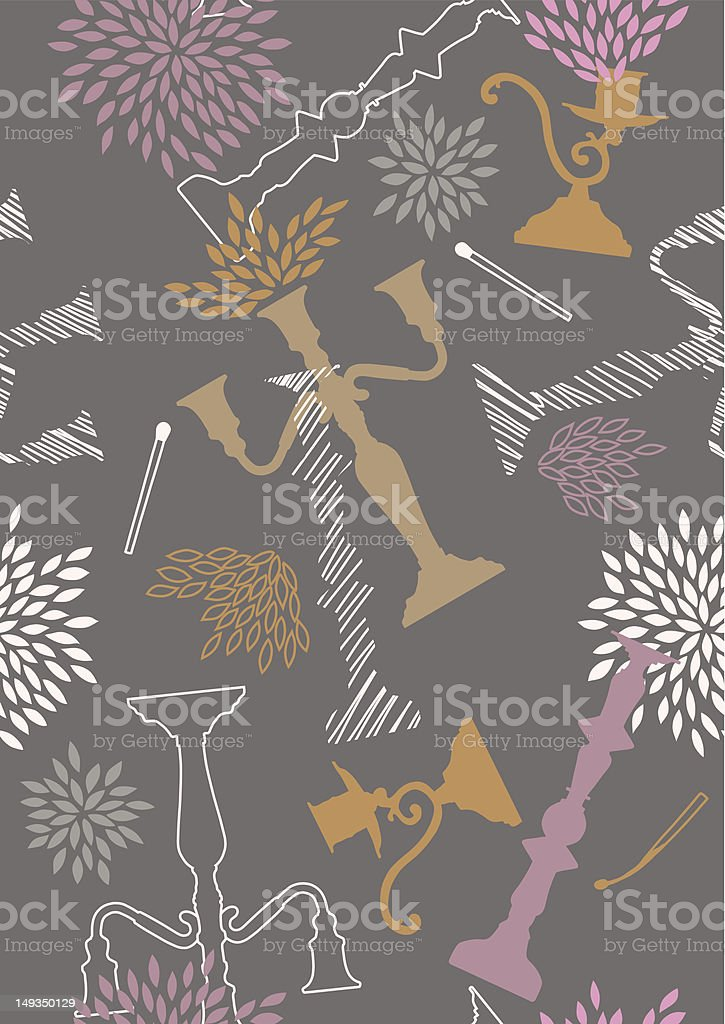 Seamless Pattern with Chandeliers royalty-free stock vector art