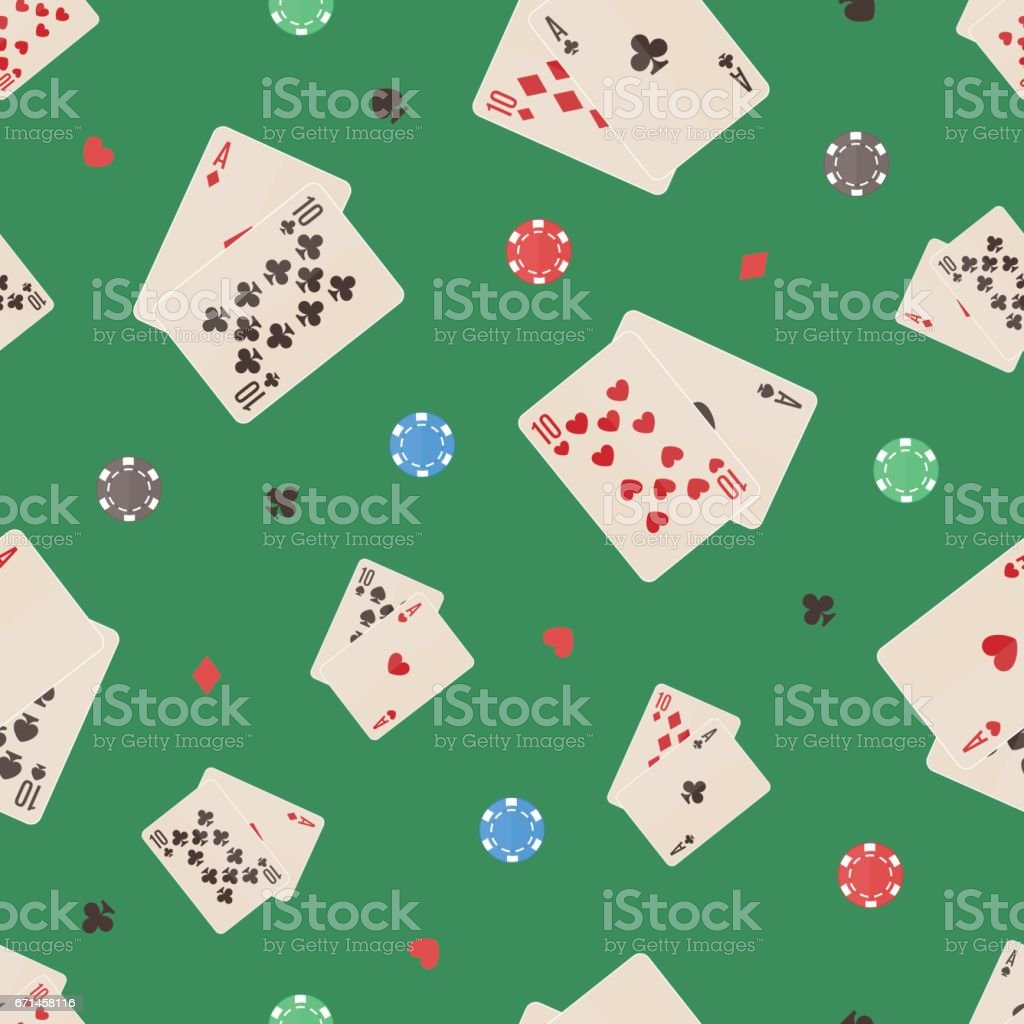 Seamless pattern with chips and cards. Great for wrapping paper, posters, backgrounds for the site. vector art illustration