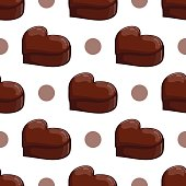 Seamless pattern with chocolate heart