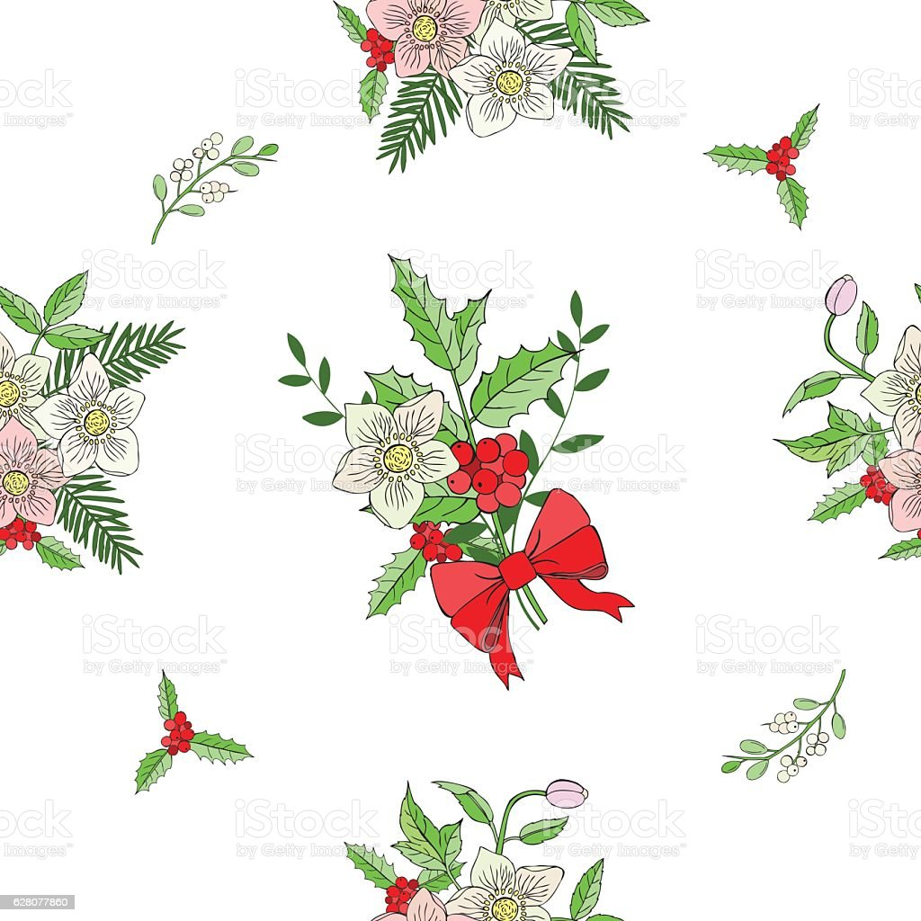 Seamless pattern with Christmas decoration vector art illustration